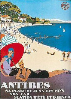 Vintage Antibes France Travel Poster