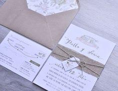 """Invitaciones de boda """"Añares"""" ~ Aticom. #wedding #weddinginvitations #invitacionesdeboda #boda #invitacionboda #añares #arpillera #kraft #rustic #vintage"""