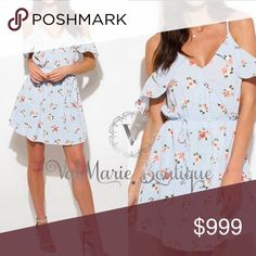 """SKY BLUE FLORAL COLD SHOULDER DRESS Absolutely stunning in every way! Has adjustable shoulder straps, lower lined and comfort elastic tie waist. Apprx 33"""". So pretty and perfect for Easter or summer. 97% poly, 3% spandex. Hand wash cold, do not bleach. Hang to dry and low iron if needed. Price is absolutely firm unless bundled. ValMarie Boutique Dresses"""