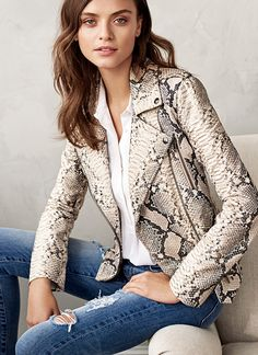 Our limited edition snake print leather moto jacket will give you an edgy chic look when paired with a classic button shirt and distressed jeans | Banana Republic