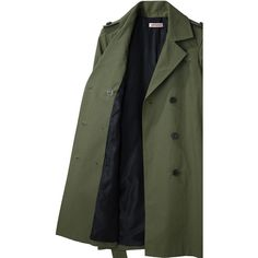 Organic by John Patrick Double Breasted Trench (370 SGD) ❤ liked on Polyvore featuring outerwear, coats, jackets, & - clothing - outerwear, coats & jackets, women, trench coats, long green coat, cotton trench coat and green trench coat
