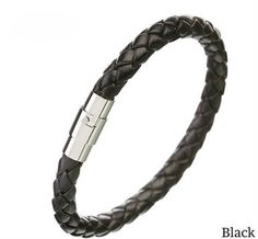 Leather Bracelet Braided Bolo Leather With Stainless Steel