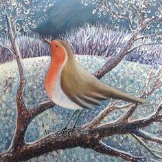 'Robin On A Winter's Day' By Painter Hannah Giffard. Blank Art cards By Green Pebble. www.greenpebble.co.uk