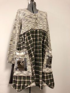 Excited to share this item from my shop: Upcycled Marled Sweater Dress , Loose Fit Refashioned Cabin Chic, Oversized Plaid Flannel Tunic by SimplyCathrineAnn Source by nsclark Sewing Dresses For Women, Sewing Clothes Women, Dress Clothes For Women, Diy Clothes, Kleidung Design, Diy Kleidung, Marled Sweater, Cotton Sweater, Clothes Refashion