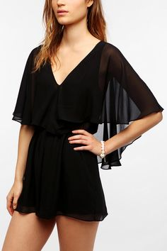 Pins And Needles Chiffon-Flutter Sleeve Romper