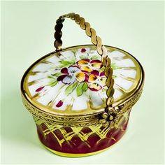 Limoges Burgundy Pansies Basket Box The Cottage Shop