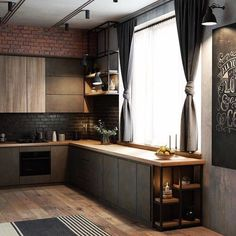 credit Get motivated to design the home of your dreams with our inspiring looks and practical decorating tips. decoration interieur home decoration decoration salon Loft Kitchen, Kitchen Room Design, Modern Kitchen Design, Kitchen Interior, American Kitchen Design, 1970s Kitchen, Kitchen Designs, Kitchen Mat, Kitchen Ideas