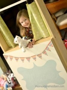 Turn an old book shelf into a puppet theater or lemonaide stand