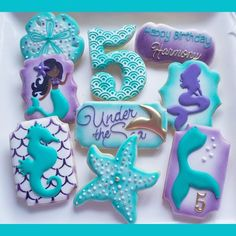 1 DOZEN Decorated Cookies - Birthday Silhouette Little Girl Boy Favors Under the Sea Mermaid Custom Decorated Cookies Turtle Sea Horse Best Sugar Cookies, Fancy Cookies, Royal Icing Cookies, Custom Cookies, Pisces Birthday, Mermaid Theme Birthday, Little Mermaid Birthday, Mermaid Party Food, Mermaid Parties