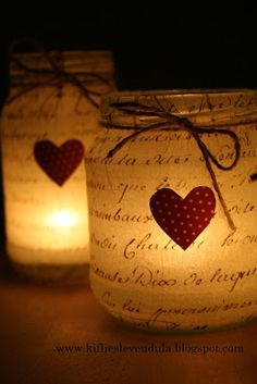 Cute idea for the next upcoming holiday - Valentines day. Change the heart to a star for a cute Christmas candle idea! Mason Jar Candle Holders, Candle Jars, Candle Lanterns, Diy Candles, Christmas Candles, Christmas Decorations, Christmas Carol, Mason Jar Crafts, Mason Jars