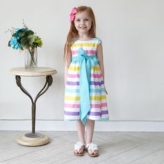 3d09865188c Girls Spring Stripe Ava Sash Dress – Lolly Wolly Doodle Dress Sash