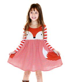 Orange & White Stripe Foxtrot Dress - Girls #zulily #zulilyfinds