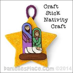 Christmas Craft - Star and Craft Stick Nativity Scene Ornament Craft