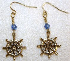 "Handcrafted by Teal Palmetto, LLC. A customer in Beaufort, South Carolina, steered herself right into buying these pretty ""ship's wheel"" earrings!"