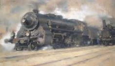 Jaroslav Ronek (1892 Prague-† 1962) Czech painter of locomotives, railway stations, industrial buildings, Sea and Cruise.
