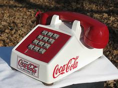 Vintage  Red and White Coca Cola Phone w/ red Coca-Cola Sign, Western Electric