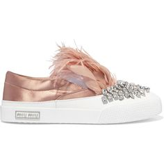 Miu Miu Embellished satin slip-on sneakers ($1,265) ❤ liked on Polyvore featuring shoes, sneakers, antique rose, slip on trainers, rubber sole shoes, slip-on sneakers, embellished sneakers and slip-on shoes