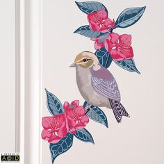 This wall decal is a lovely piece of modern home decor, with a bird and floral theme. The decal features a sweet bird perching on a branch of pink blossoming flowers. This decal looks lovely on white painted doors and would be a perfect addition to a nursery.