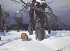 Stepan Fedorovich Kolesnikov (Russian, 1879 - Wolf in a Winter Landscape. Nocturne, Russian Landscape, Environment Painting, Winter Images, Russian Painting, Sad Art, Famous Art, Traditional Paintings, Outdoor Art