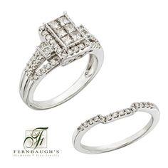 14K White Gold Wedding Set 1.13 carat total weight (16E)