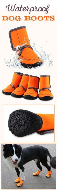 US$13.99--Waterproof Dog Boots Paw Protectors Shoes with Adjustable Straps and Rugged Anti-Slip Sole 4Pcs#newchic#pet#boots#waterproof