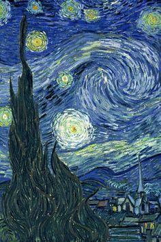 Toetsen: Starry Night 1889 ~ Vincent Van Gogh Door streepjes naast elkaar te plaatsen ontstaat een dynamische vorm