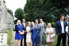 wedding selfies outside the church in suffolk