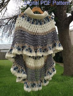 Circular Asymmetric Long Poncho Shawl Crochet Pattern PDF File Avant Garde Unbalanced Design Level: Easy This poncho shawl is made using a