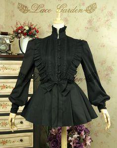 [Garden] retro lace dress brand Tingfeng Qin palace lantern sleeve pleated bow collar black shirt - Taiwan Taobao, Taobao Almighty
