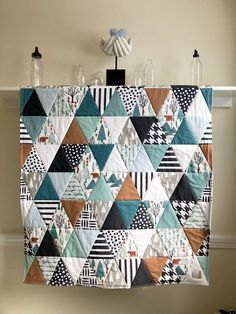 Bear Mountain Triangles Baby Quilt Handmade Woodland Baby