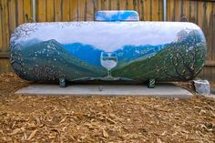 Propane and water tanks, exteriors, painted with murals or faux finishes for camoflauge and tank art by Darwin Designs in California Propane Tank Art, Propane Tank Cover, Outdoor Art, Outdoor Gardens, Outdoor Decor, Dazzle Camouflage, Pebble Pictures, Farm Art, Septic Tank