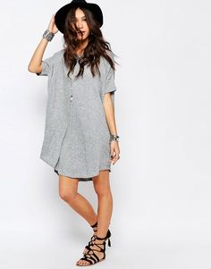 Image 4 ofStitch & Pieces Knitted Slouchy T-Shirt Dress in Rib