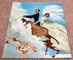 Cherubs & Flying Horses  Vintage 1962 GPO Wedding Greetings Wedding Greetings, Horse Fly, Cherubs, Ephemera, Horses, Cards, Painting, Etsy, Vintage