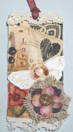 collaged fabric tag
