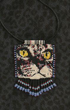 peyote beaded cat necklace