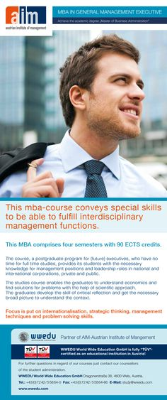 #MBA in General Management Executive: This studies course enables the graduates to understand economics and find solutions for problems with the help of scientific approach. The graduates develop the skill of critical reflection and get the necessary broad picture to understand the context. #mba #online #elearning #master #business #study #postgraduate Short Courses, Economics, English Language, Leadership, Management, Study, Education, Reflection, Business