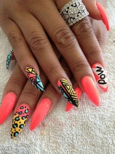Cool, Funky, Colourful Nails Design, Neon Coral, Perfect for Summer.