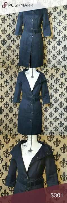 ♦NEW LISTING♦ Gryphon New York trench STYLE: THE HITCHCOCK .  This is a navy blue Gryphon  lightweight formal jacket in excellent condition. The color can be worn open or closed . No missing buttons, they say Gryphon on them.. pinstripe lining.   The color is extremely stunning. Dry clean only iron on low RETAILS FOR: $669 Gryphon Jackets & Coats Trench Coats