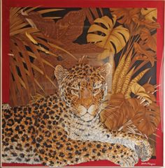 Salvatore Ferragamo silk jungle scarf. The Leopards body is made from Orchids & Flowers. Displyed in a custom made acrylic gallery frame. Lucas Street Antiques Dallas Texas