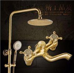 New Luxury Antique Brass Carving Rainfall Shower Sets Faucet Mixer Tap Tub Faucet Brass Bath & Shower Faucet Set Bathtub Faucet #Affiliate