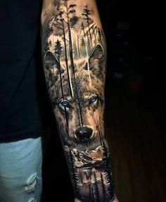 Wolf Tattoo Forearm, Wolf Tattoo Sleeve, Best Sleeve Tattoos, Tattoo Sleeve Designs, Tattoo Designs Men, Nature Tattoo Sleeve, Wolf Tattoo Shoulder, Wolf Tattoos Men, Cool Forearm Tattoos