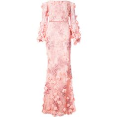 Marchesa Notte off-the-shoulder floral gown (31,215 MXN) ❤ liked on Polyvore featuring dresses, gowns, floral evening gown, pink floral dress, off shoulder floral dress, pink evening gowns and off the shoulder ball gown
