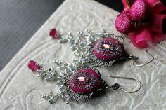Rubellite and Mystic white sapphire Quartz gemstone by Peelirohini, $70.00