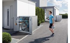 bike storage solution MiniGarage from Biohort Bike Storage Solutions, Storage Bins, Storage Spaces, Locker Storage, Furniture Plans, Garden Furniture, Woodworking Furniture, Kids Furniture, Mini Garage