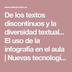 De los textos discontinuos y la diversidad textual...  El uso de la infografía en el aula    Nuevas tecnologías aplicadas a la educación    Educa con TIC