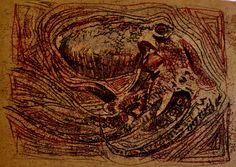 Monotipia com vermelho e preto Abstract, Artwork, Painting, Summary, Work Of Art, Auguste Rodin Artwork, Painting Art, Artworks, Paintings