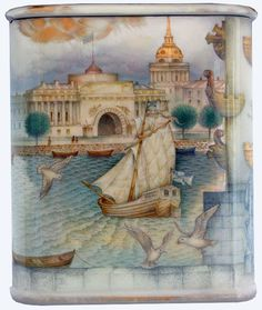 Kozlov Sergey, Fedoskino lacquer box, Panorama of Saint Petersburg, 2016, 2