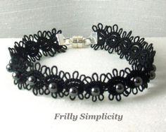 Tatted pulsera de cordón de cristal con perlas por SnappyTatter
