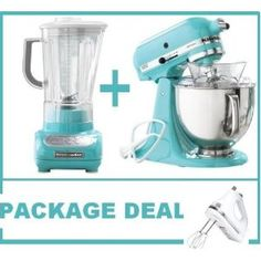 Package includes a KitchenAid KSM150PSAQ Artisan Tilting Model Stand Mixer, KitchenAid Martha Stewart Blue Collection 5-Speed Blender and a White Kitchenaid Hand Mixer.