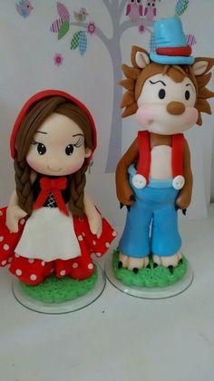 Topo de bolo personalizado Chapeuzinho vermelho e Lobo mal.